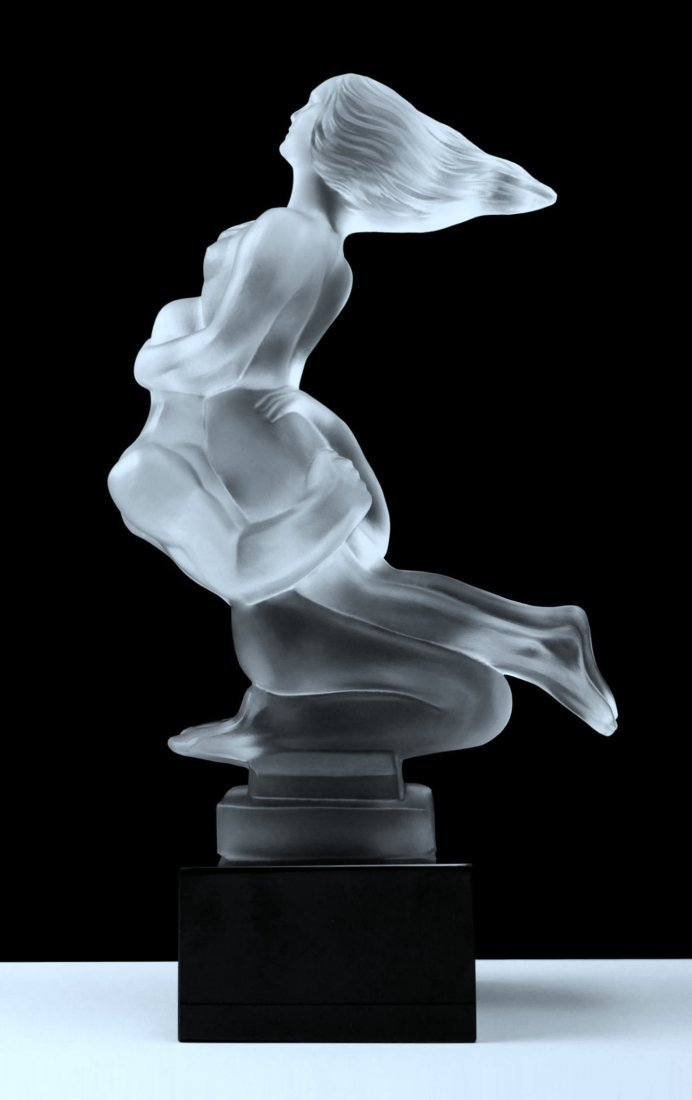 French Art Deco ' Nude Lovers ' Bohemia Glass Statuette - 3