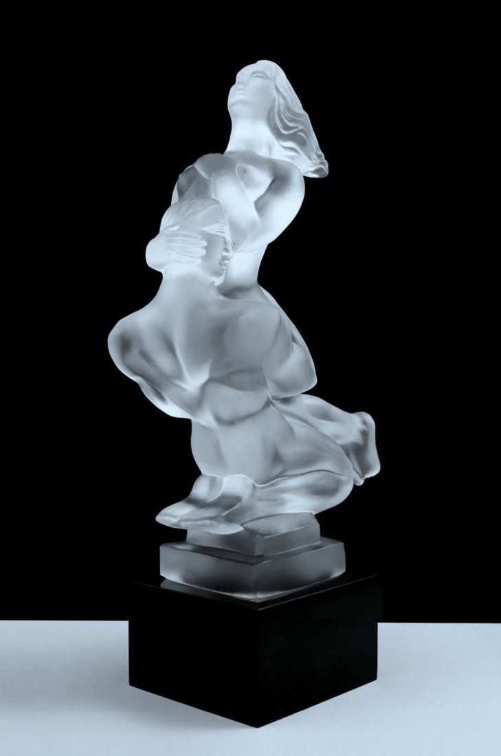 French Art Deco ' Nude Lovers ' Bohemia Glass Statuette - 4