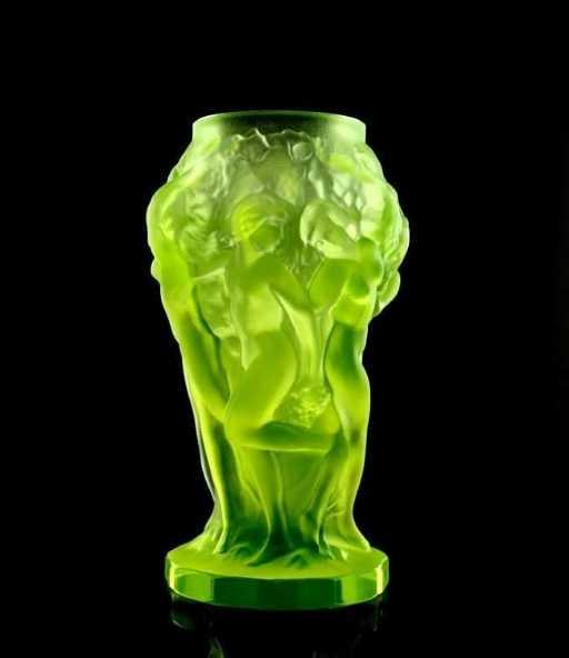 French Art Deco Bohemian 1930 Vaseline Glass Vase