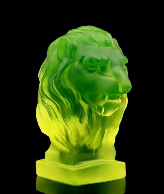 French Art Deco Bohemia Glass Car Mascot / Lion