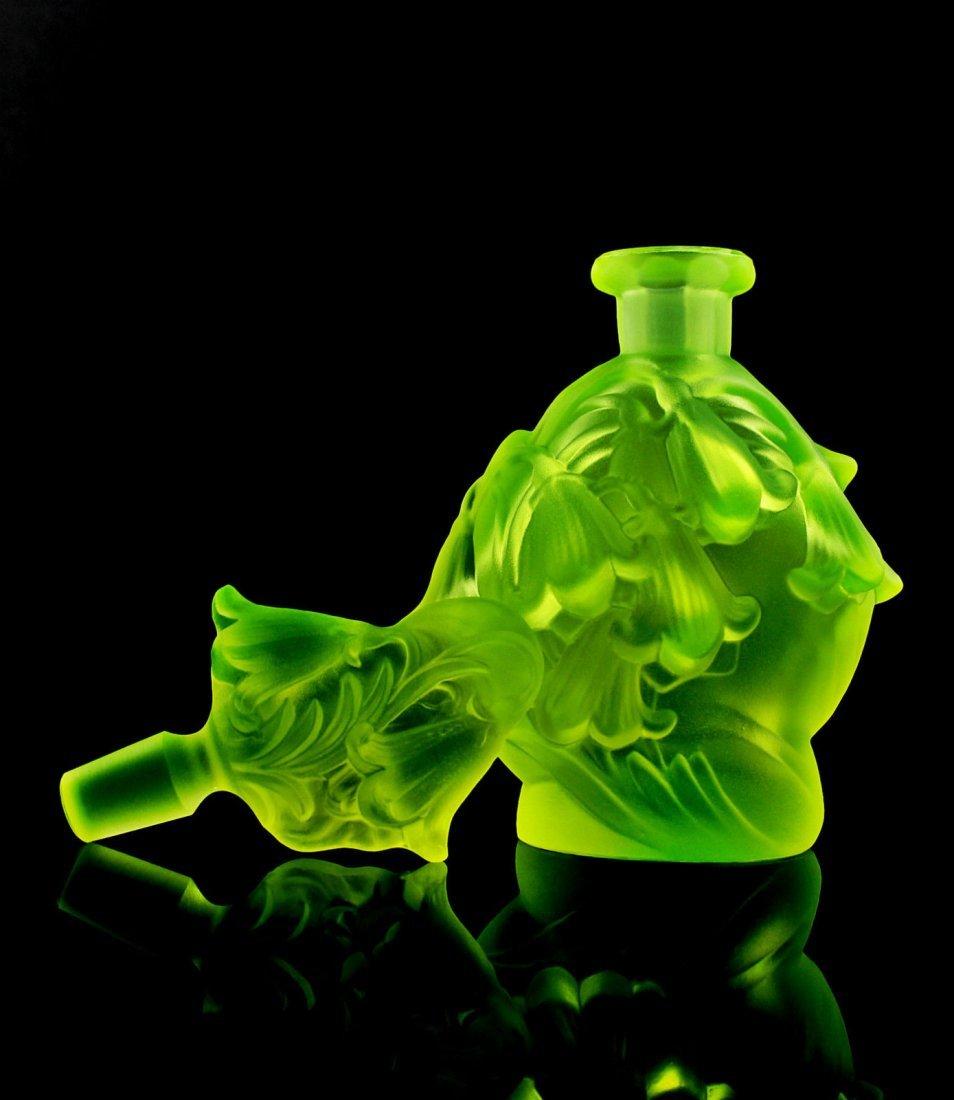 Vintage Bohemian Art Deco Vaseline Glass Perfume Bottle - 2