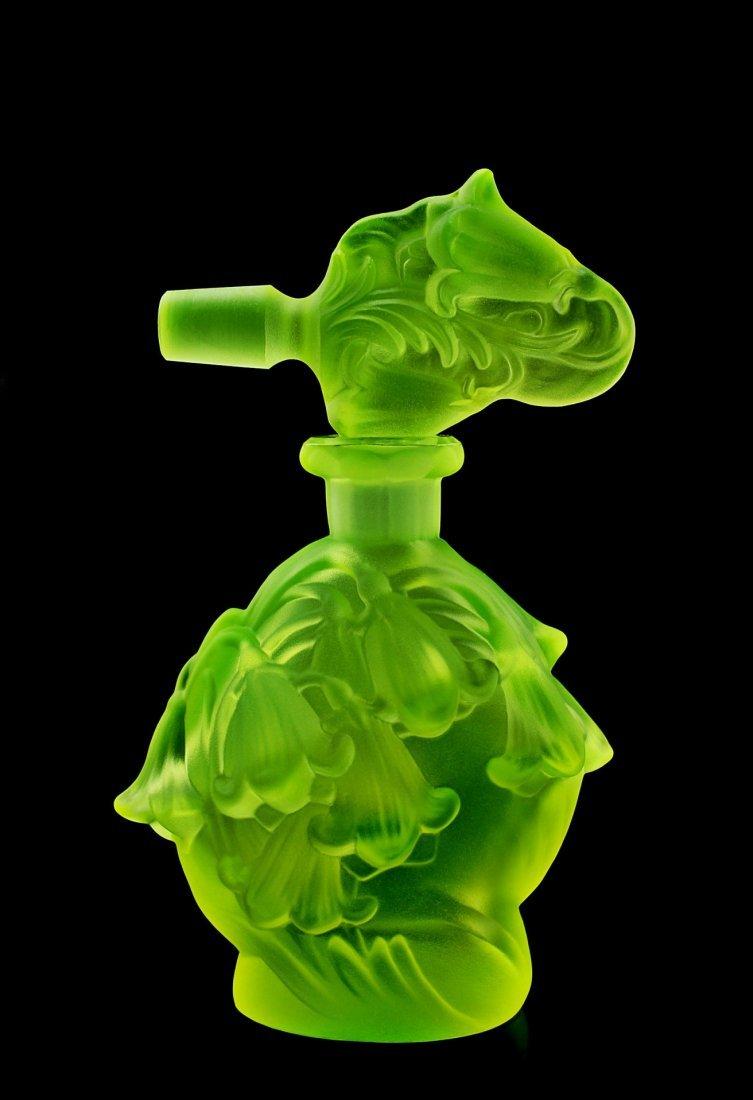 Vintage Bohemian Art Deco Vaseline Glass Perfume Bottle - 3