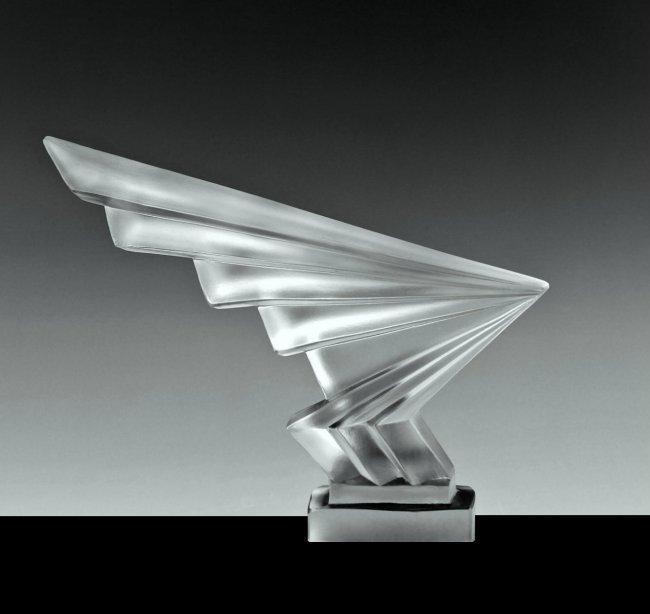Art Deco 1930' Glass Car Mascot ' Flesh ' Hood Ornament