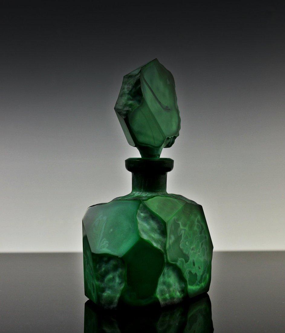 Vintage Bohemian Art Deco Jade Malachite Perfume Bottle - 2