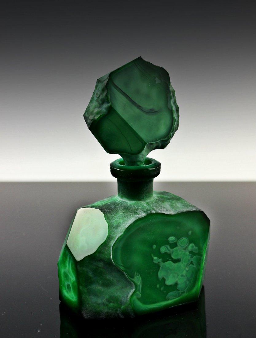 Vintage Bohemian Art Deco Jade Malachite Perfume Bottle - 3