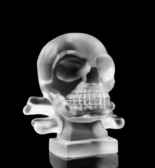 Glass Car Mascot / Skull / Art Deco 1930 / Bohemia