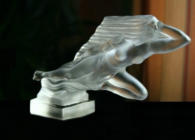 French Art Deco Bohemia Glass Car Mascot Hood Ornament