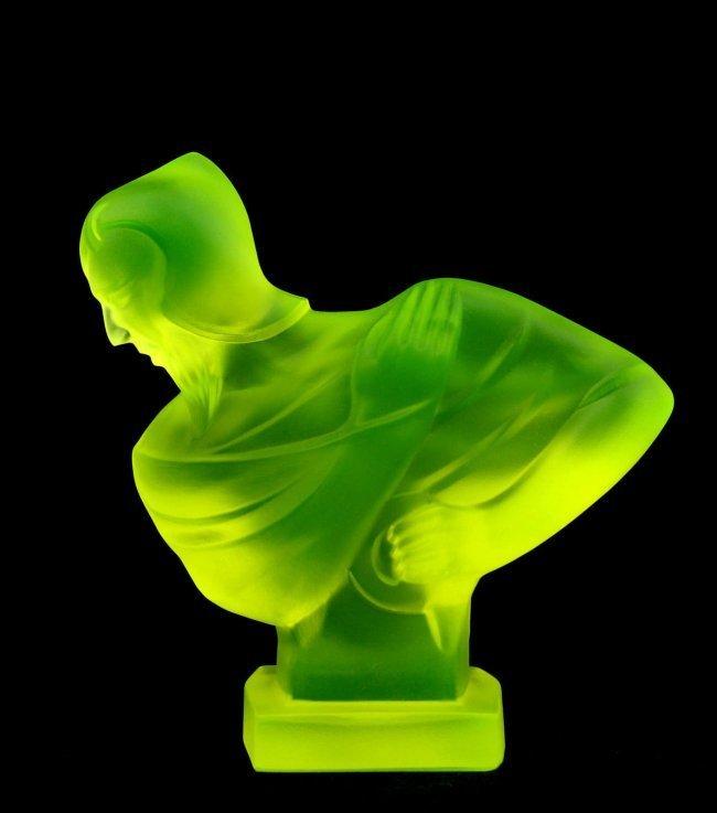 French Art Deco Bohemia Glass Car Mascot Statuette