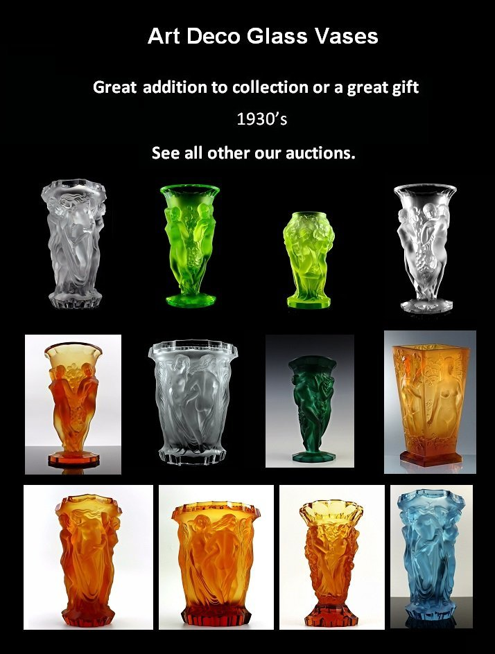 Art Deco Amber Glass Pair Candlesticks - 2
