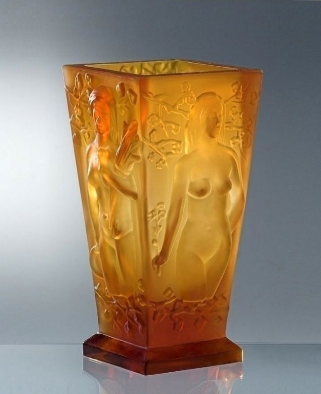 Art Deco Bohemian Amber Glass Large Vase