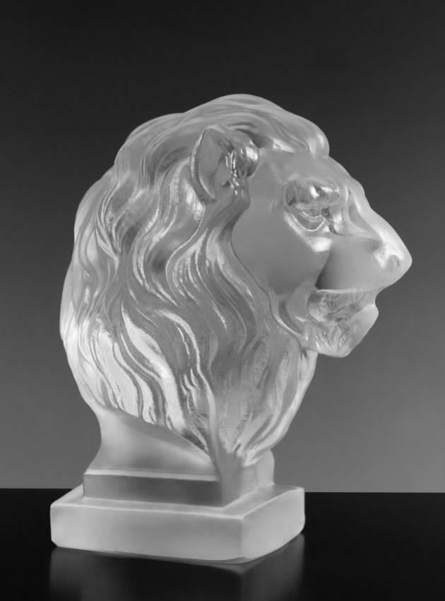"Art Deco Glass Car Mascot "" Lion "" Bohemia 1930"