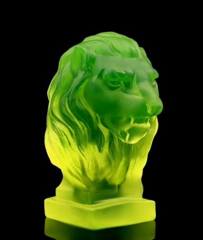 French Art Deco Bohemia Glass Car Mascot / Lion