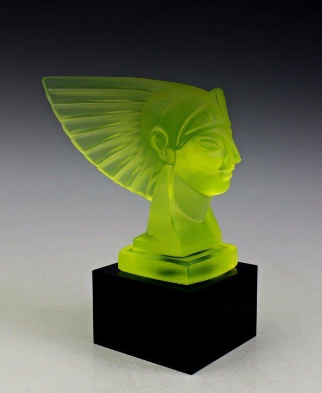 French Art Deco Bohemia Glass Car Mascot Statue
