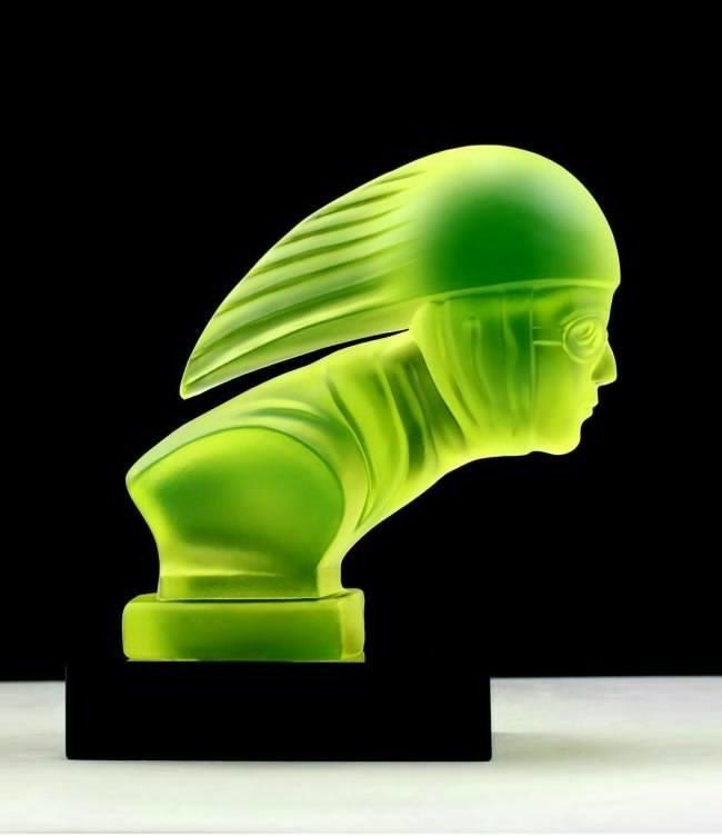 Rare Art Deco Vaseline Glass Car Mascot Sculpture