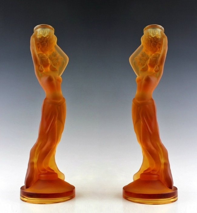 Art Deco Amber Glass 2 Women Candlesticks
