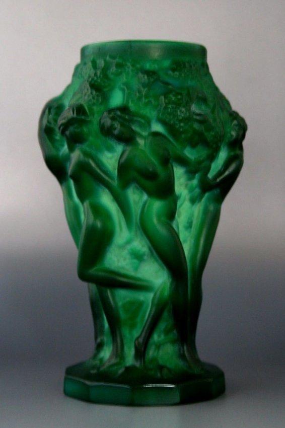French Art Deco Malachite Vase/ Bohemian Jade