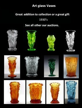 Art Deco Bohemian Vaseline Glass Large Vase - 6
