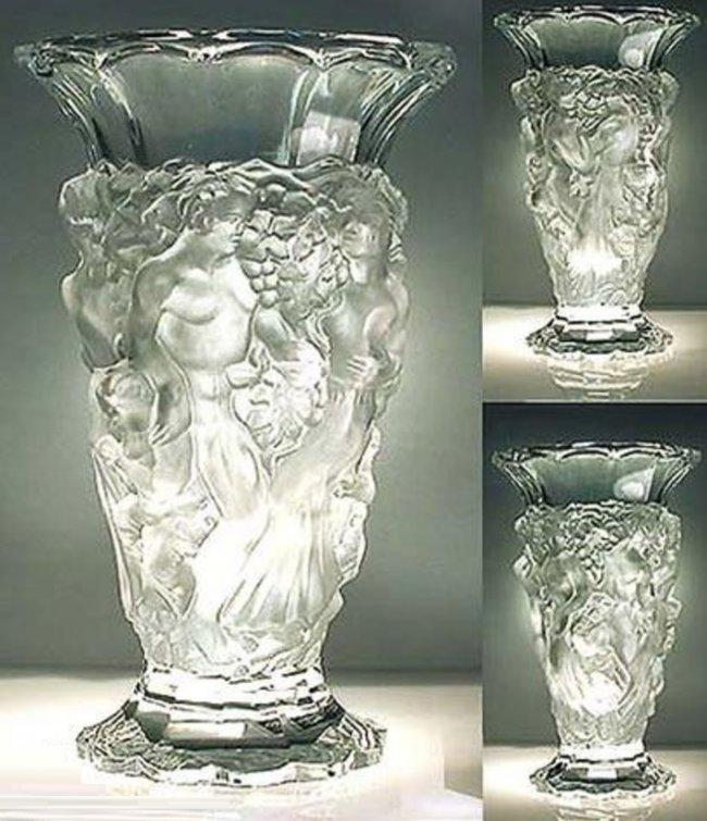 French Art Deco Bohemian Glass Large Vase