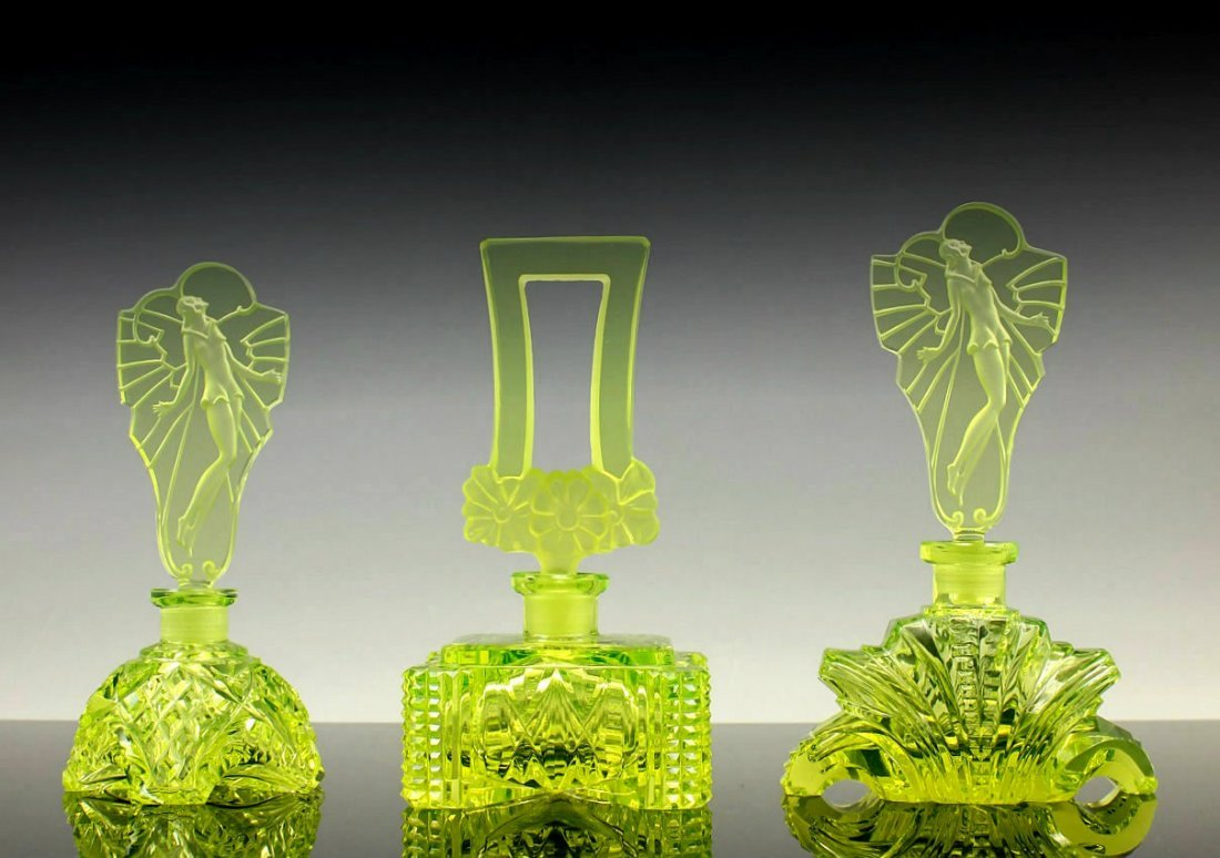Art Deco Vaseline Glass Perfume Bottles 3 pieces