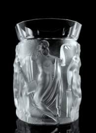 Glamorous French Art Deco Bohemian Glass Large Vase