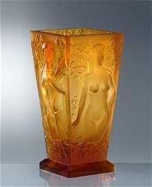 Art Deco Bohemian Amber Glass Large Vase H. Hoffmann