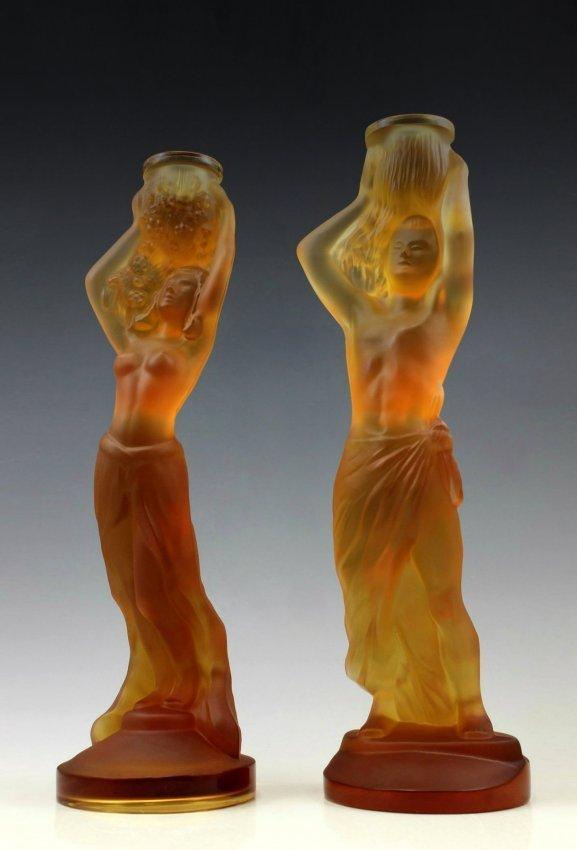 Art Deco Amber Glass 2 Candlesticks Woman & Man