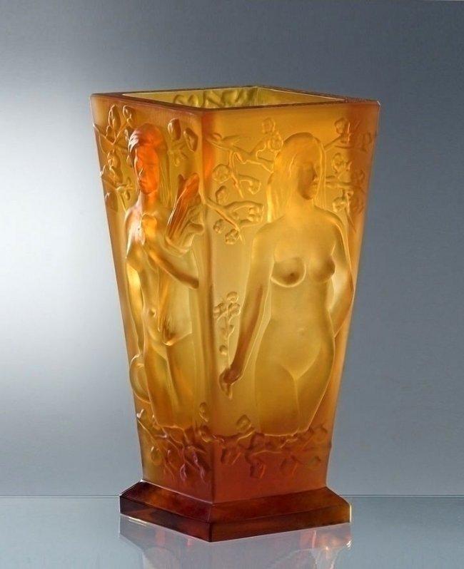 French Art Deco Amber Glass Large Vase