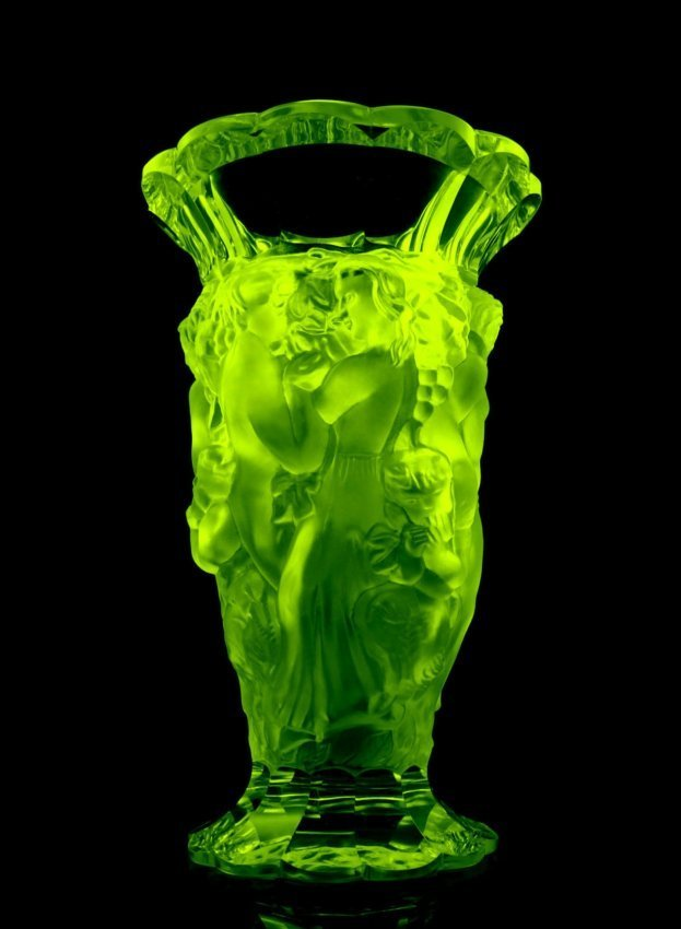 Glamorous Art Deco Bohemian Vaseline Glass Large Vase