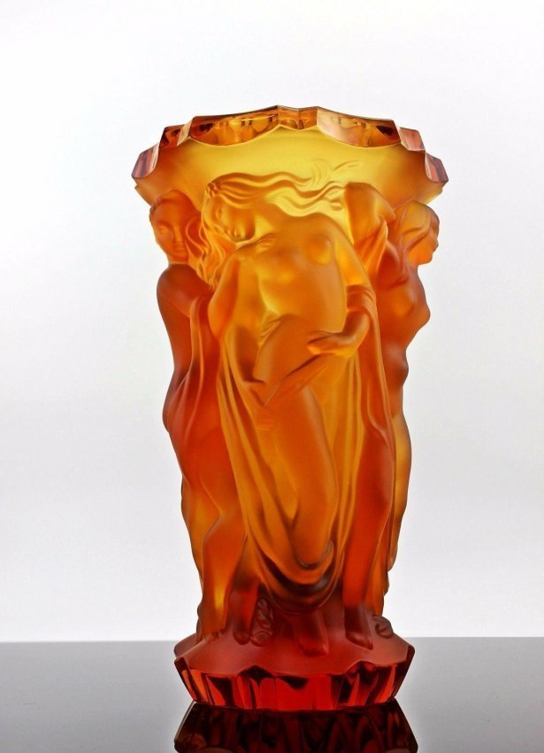 Art Deco Nude Glass Large Vase