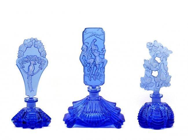 Bohemian Art Deco Glass Vintage 3 Perfume Bottles