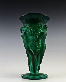 Art Deco Bohemian Malachite Jade Glass Vase - 2