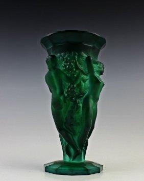 Art Deco Bohemian Malachite Jade Glass Vase - 3