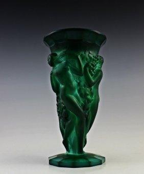 Art Deco Bohemian Malachite Jade Glass Vase - 4