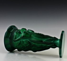 Art Deco Bohemian Malachite Jade Glass Vase - 6