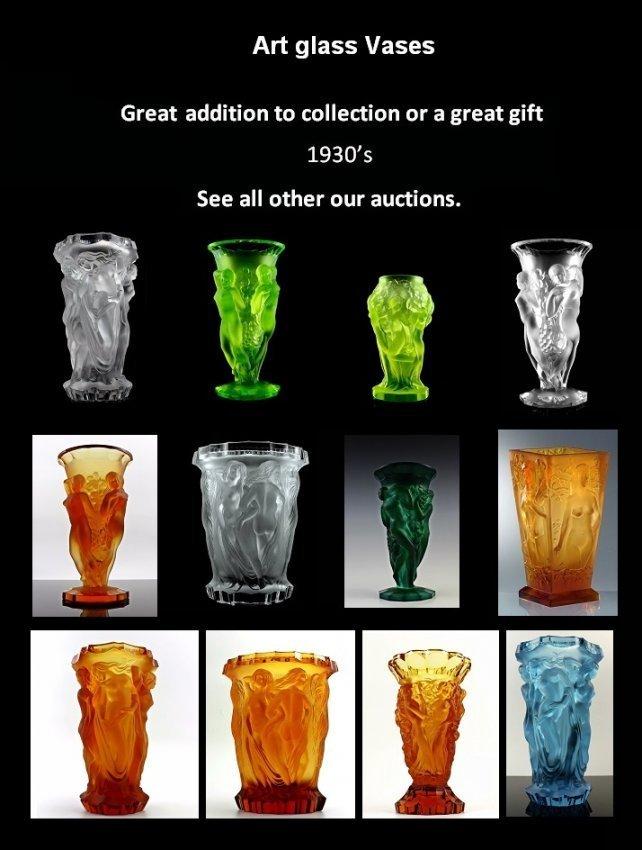 Art Deco Bohemian Malachite Jade Glass Vase - 7