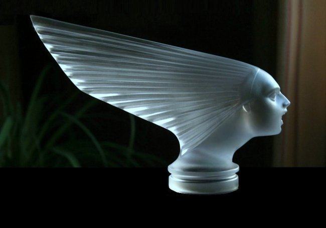 French Art Deco Glass Bohemian Car Mascot ' Victoire '