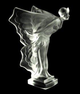 Art Deco Glass ' Flying Lady ' Car Mascot Rolls Royce - 2
