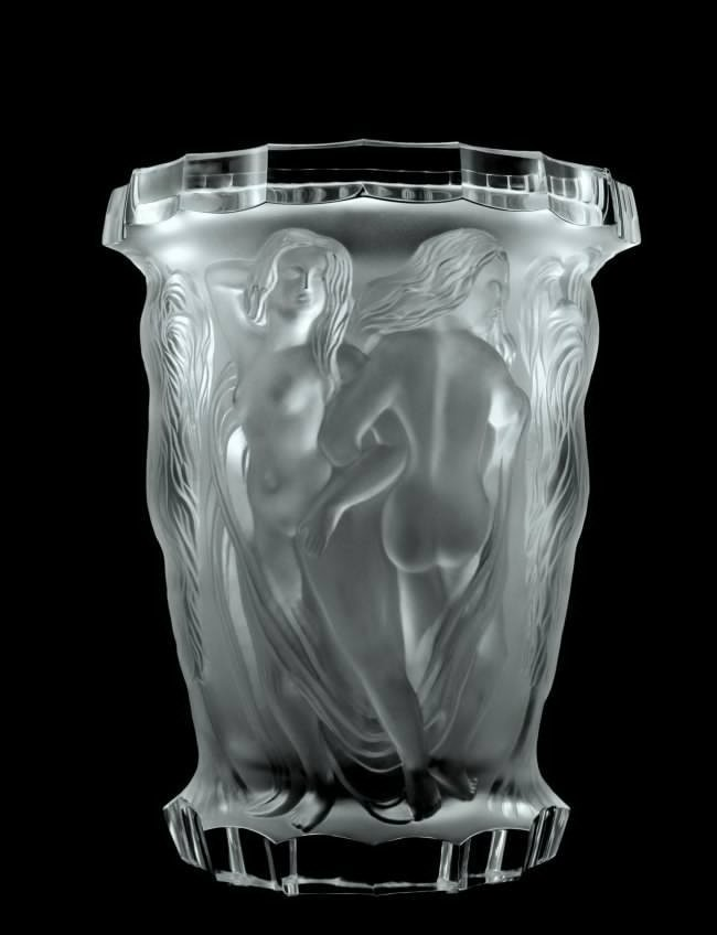 Glamorous Bohemian Art Deco Glass Large Vase