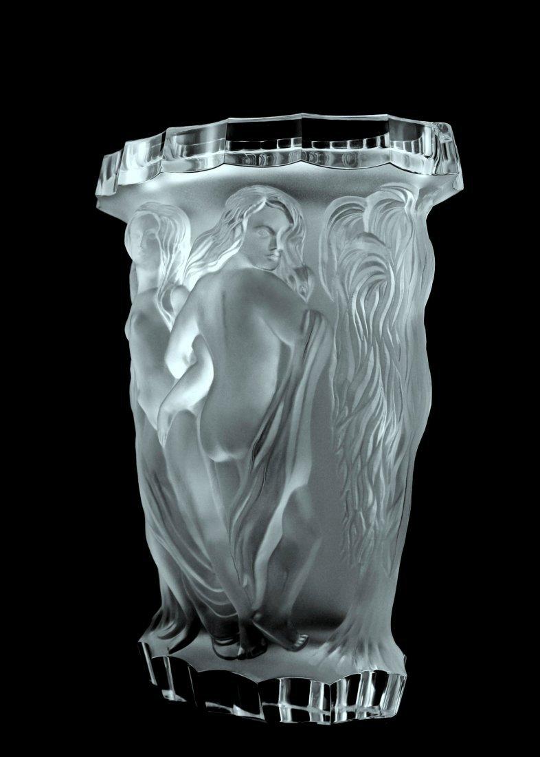 Glamorous Bohemian Art Deco Glass Large Vase - 2