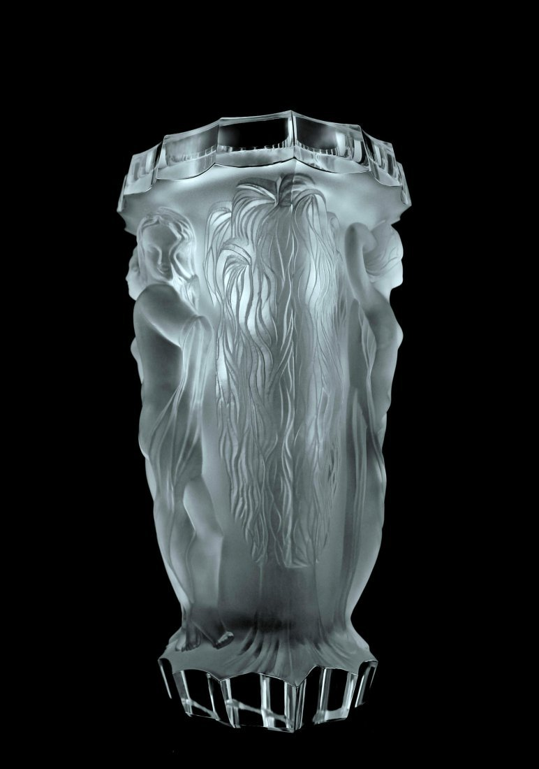 Glamorous Bohemian Art Deco Glass Large Vase - 3