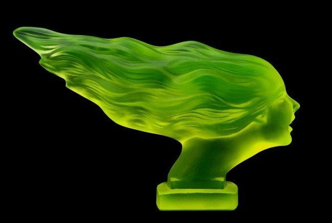 Art Deco Vaseline Glass Car Mascot Sculpture 1930'