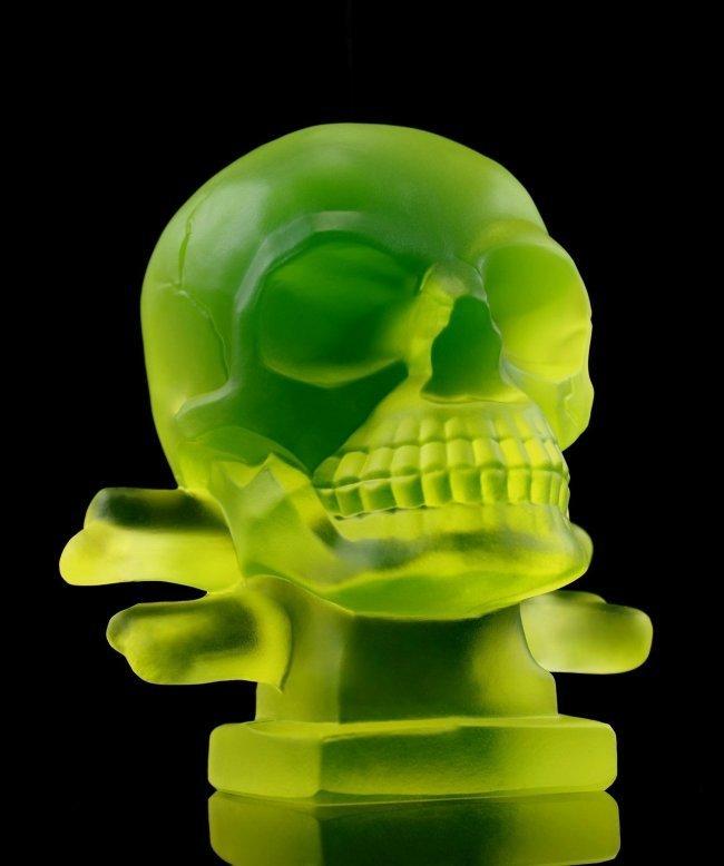 Art Deco Glass ' Skull ' Hood Ornament