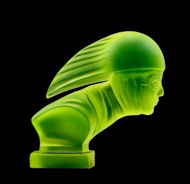 Bohemian Art Deco Vaseline Glass Car Mascot