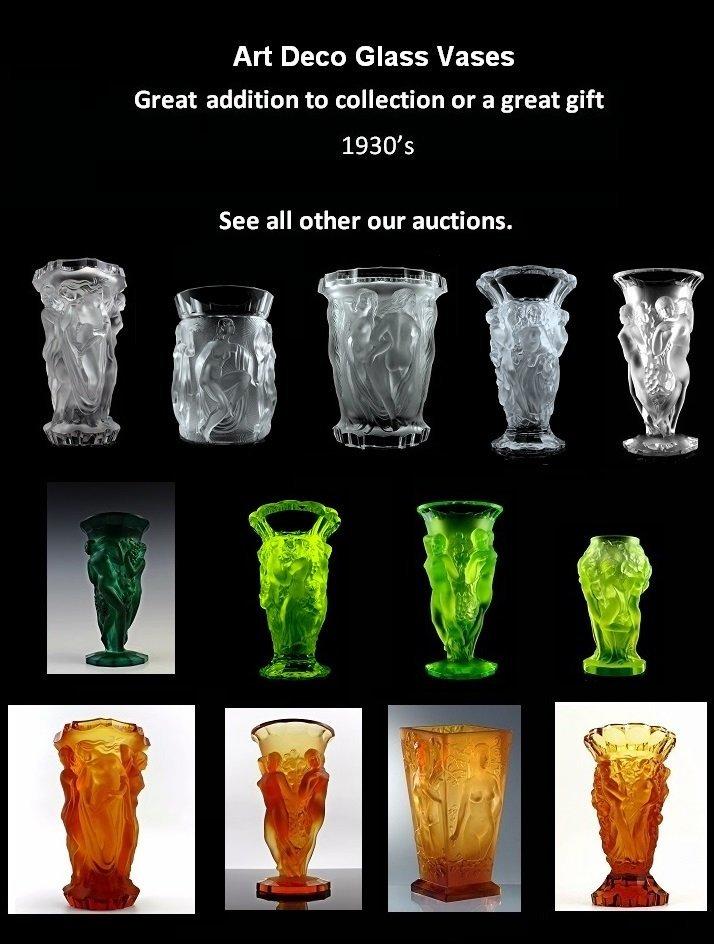 Art Deco Glass Large Vase - 6