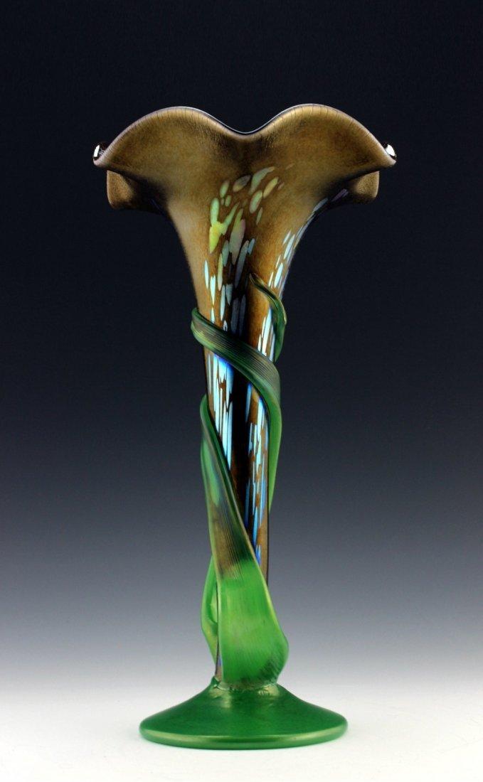 Bohemian Art Nouveau Iridescent Glass vase
