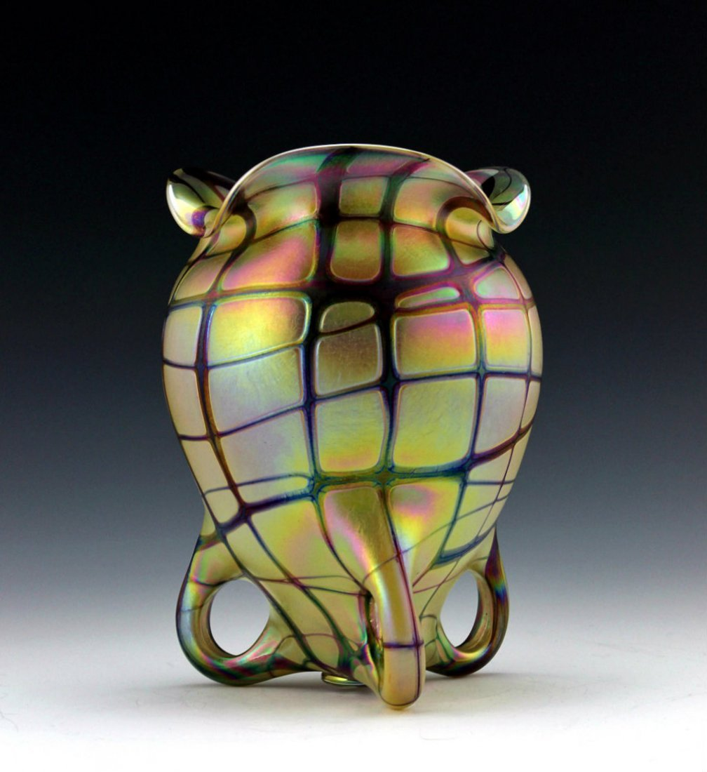 Bohemian Art Nouveau Iridescent Glass Vase