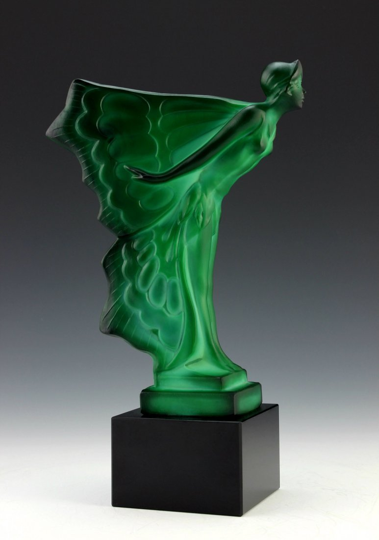 Art Deco Jade Sculpture  ' Butterfly Girl ' art glass