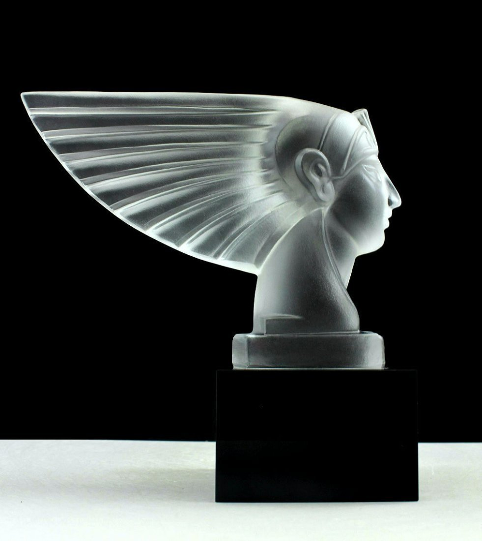 Art Deco Frosted Glass Car Mascot Figurine Sculpture