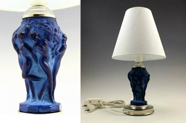 Art Deco Rare Lamp Blue Malachite Glass