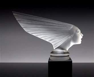Art Deco Glass Sculpture Car Mascot ' Victoire '